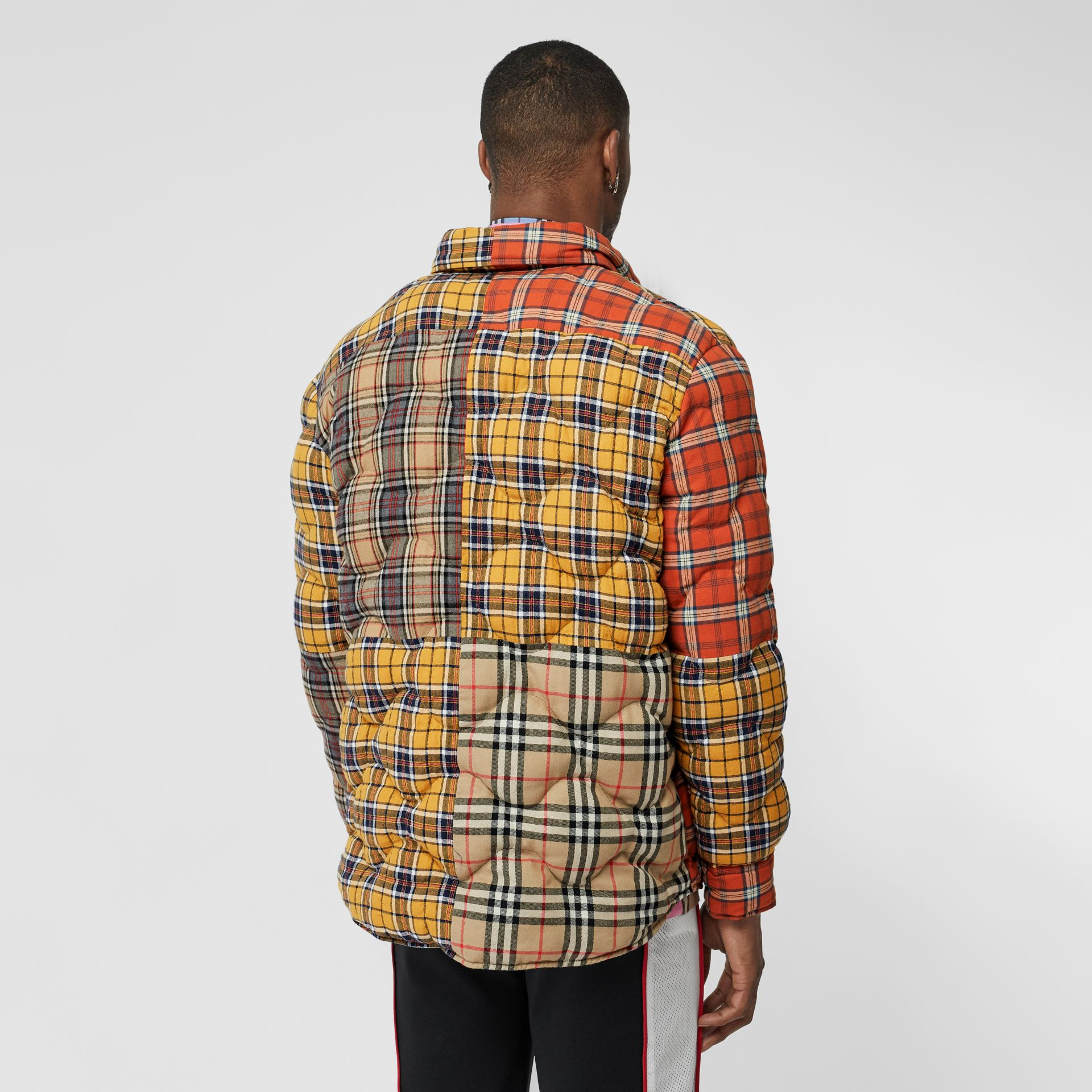 Contrast Check Cotton Flannel Puffer Overshirt in Yellow/white - Men | Burberry - gallery image 2