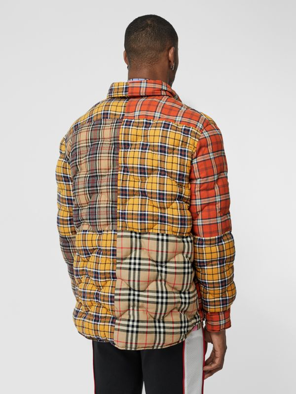 Contrast Check Cotton Flannel Puffer Overshirt in Yellow/white - Men | Burberry - cell image 2