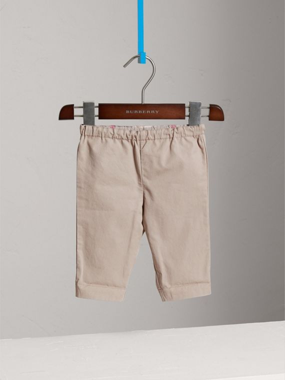 Check Turn-Up Cotton Trousers in Taupe