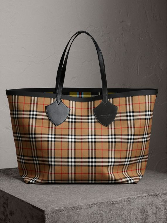 Sac tote The Giant réversible en coton à motif Vintage check et tartan (Jaune Antique)