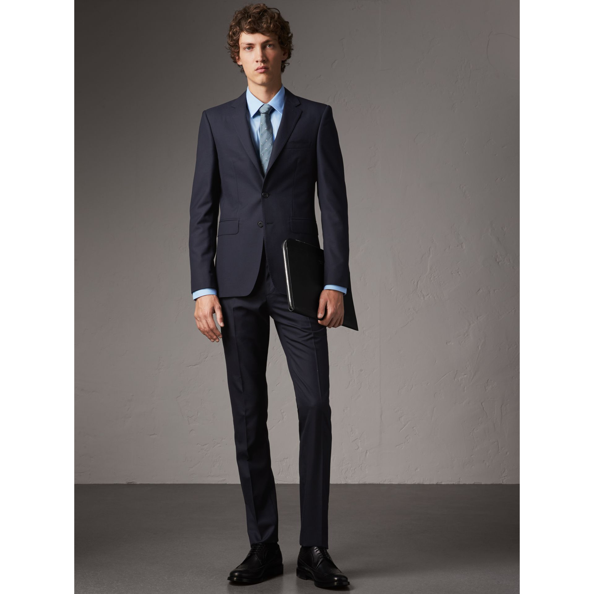Slim Fit Wool Part-canvas Suit in Navy - Men | Burberry - gallery image 1