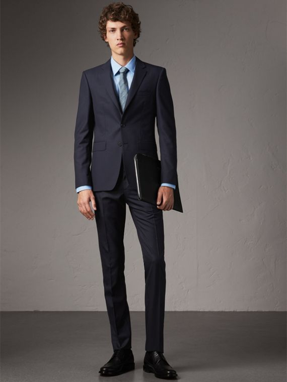 Slim Fit Wool Part-canvas Suit in Navy