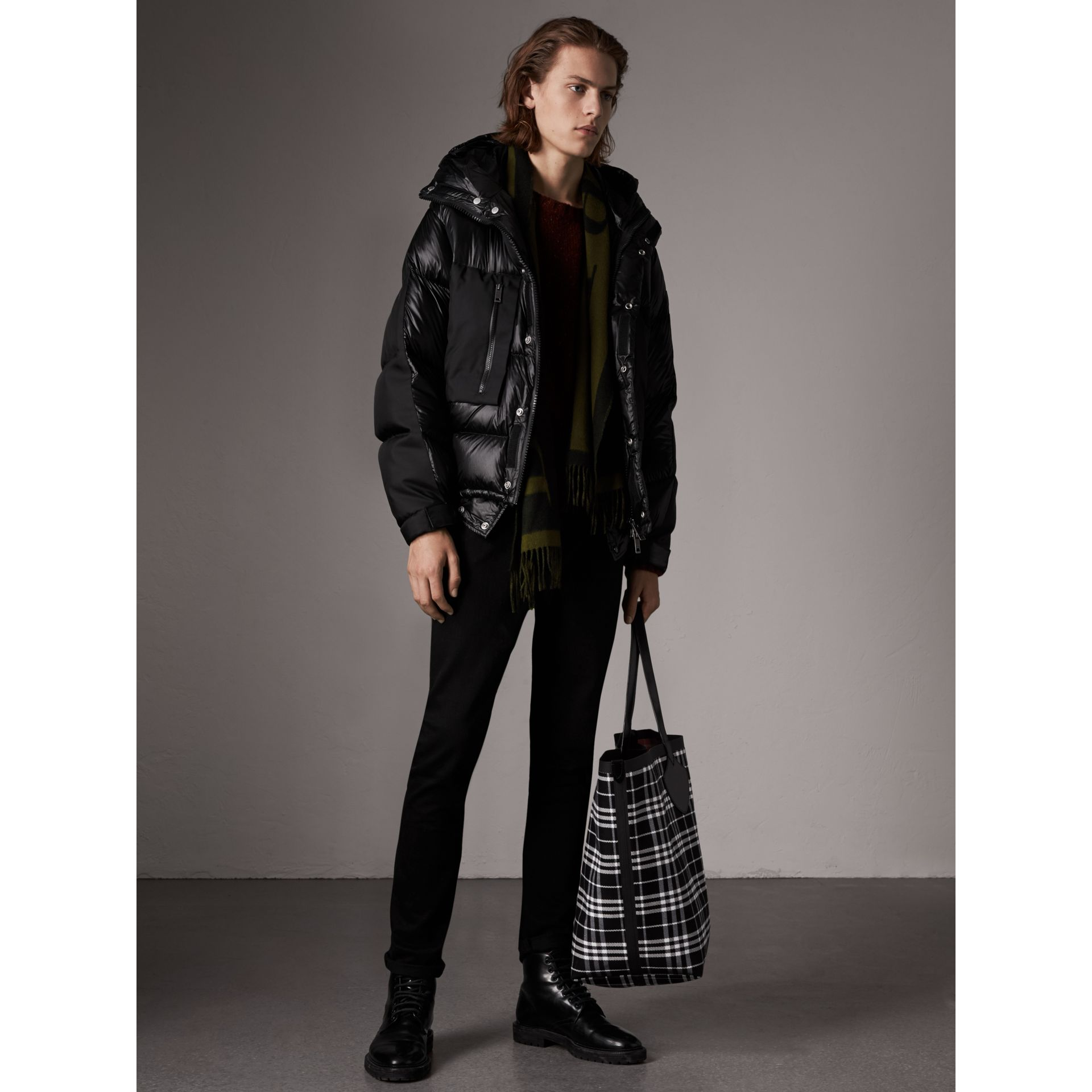 Oversized Down-filled Hooded Puffer Jacket in Black - Men | Burberry United States - gallery image 5