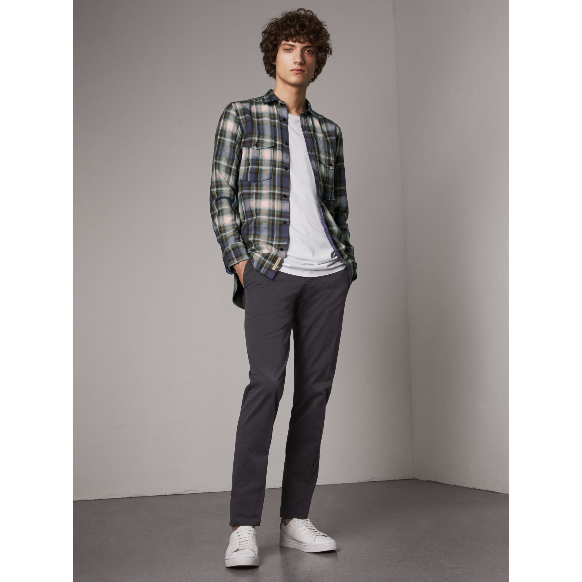 Slim Fit Stretch Cotton Chinos in Navy - Men | Burberry - gallery image 1