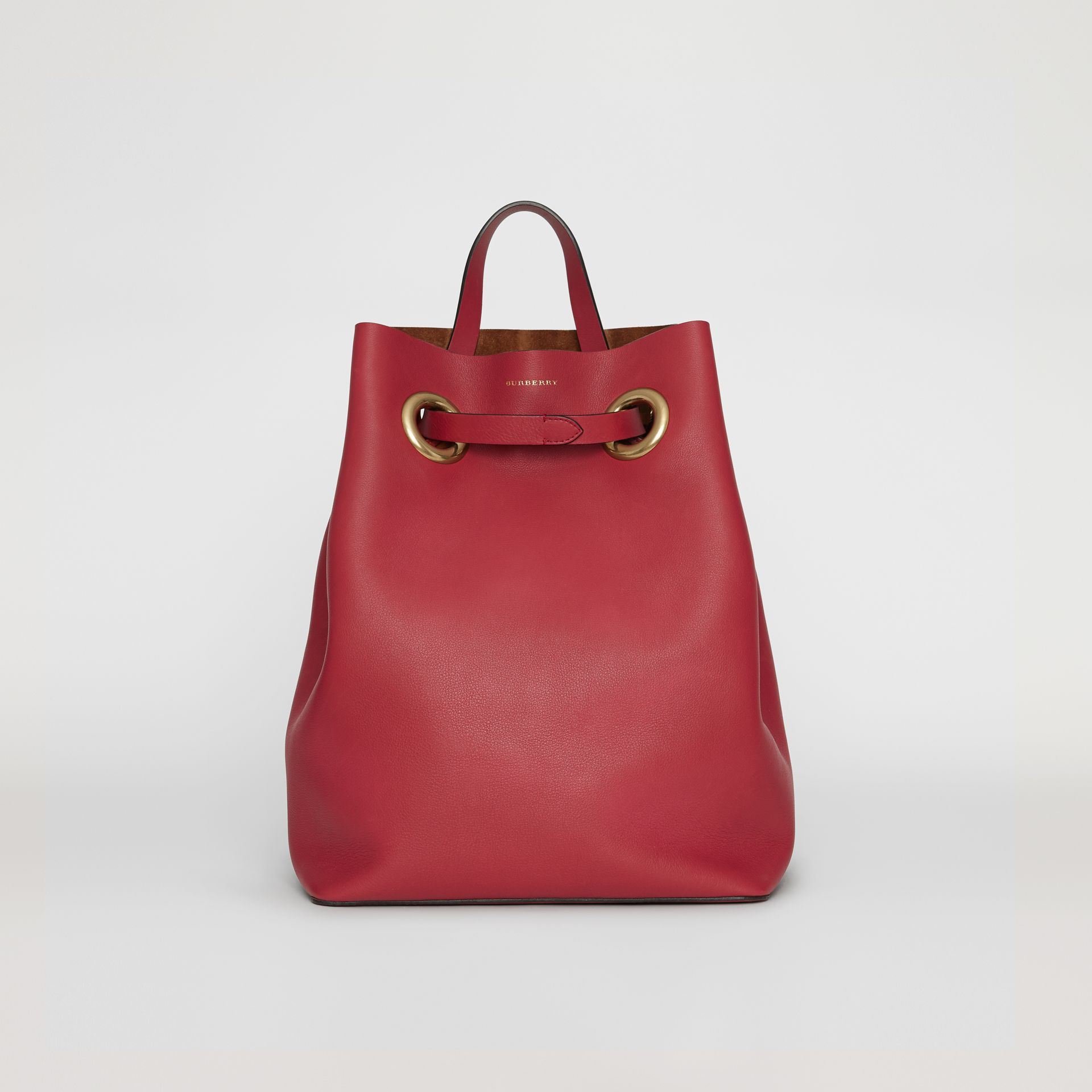 The Leather Grommet Detail Backpack in Crimson - Women | Burberry Australia - gallery image 0