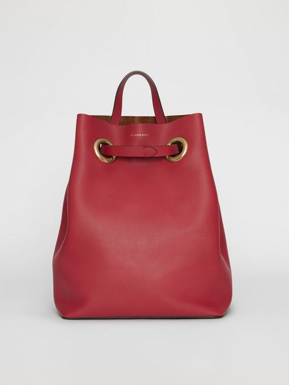 The Leather Grommet Detail Backpack in Crimson