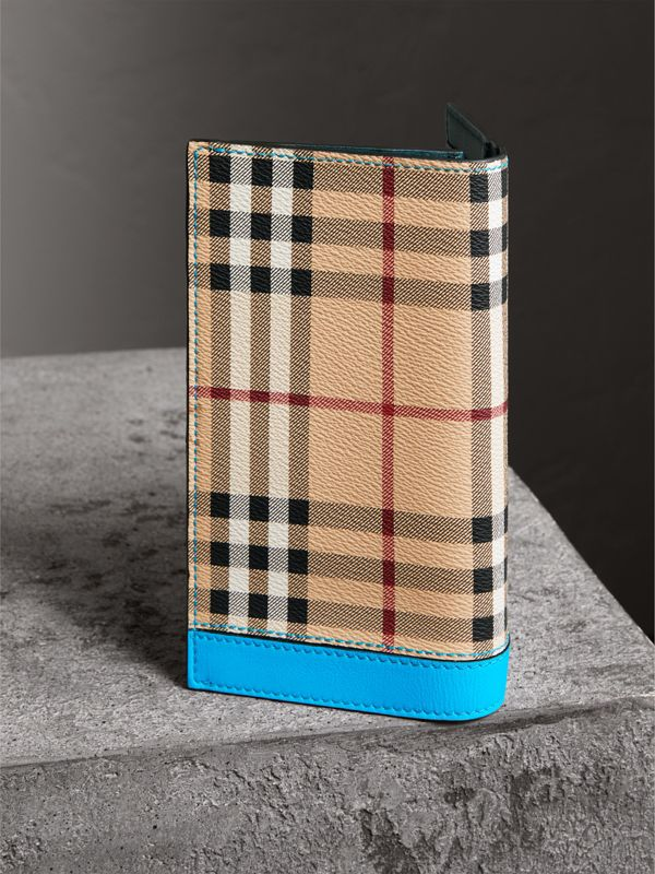 Haymarket Check and Leather Continental Wallet in Bright Blue - Men | Burberry - cell image 2