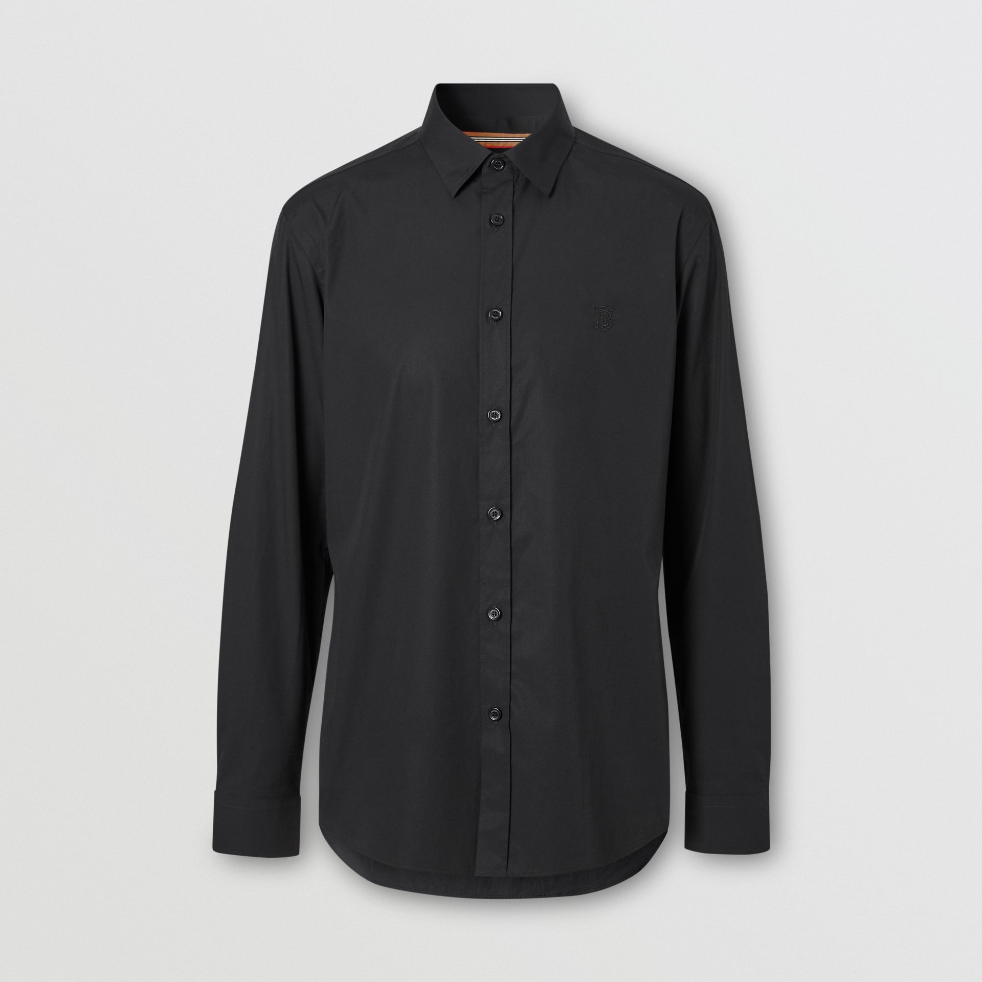 Monogram Motif Stretch Cotton Poplin Shirt in Black - Men | Burberry - gallery image 3
