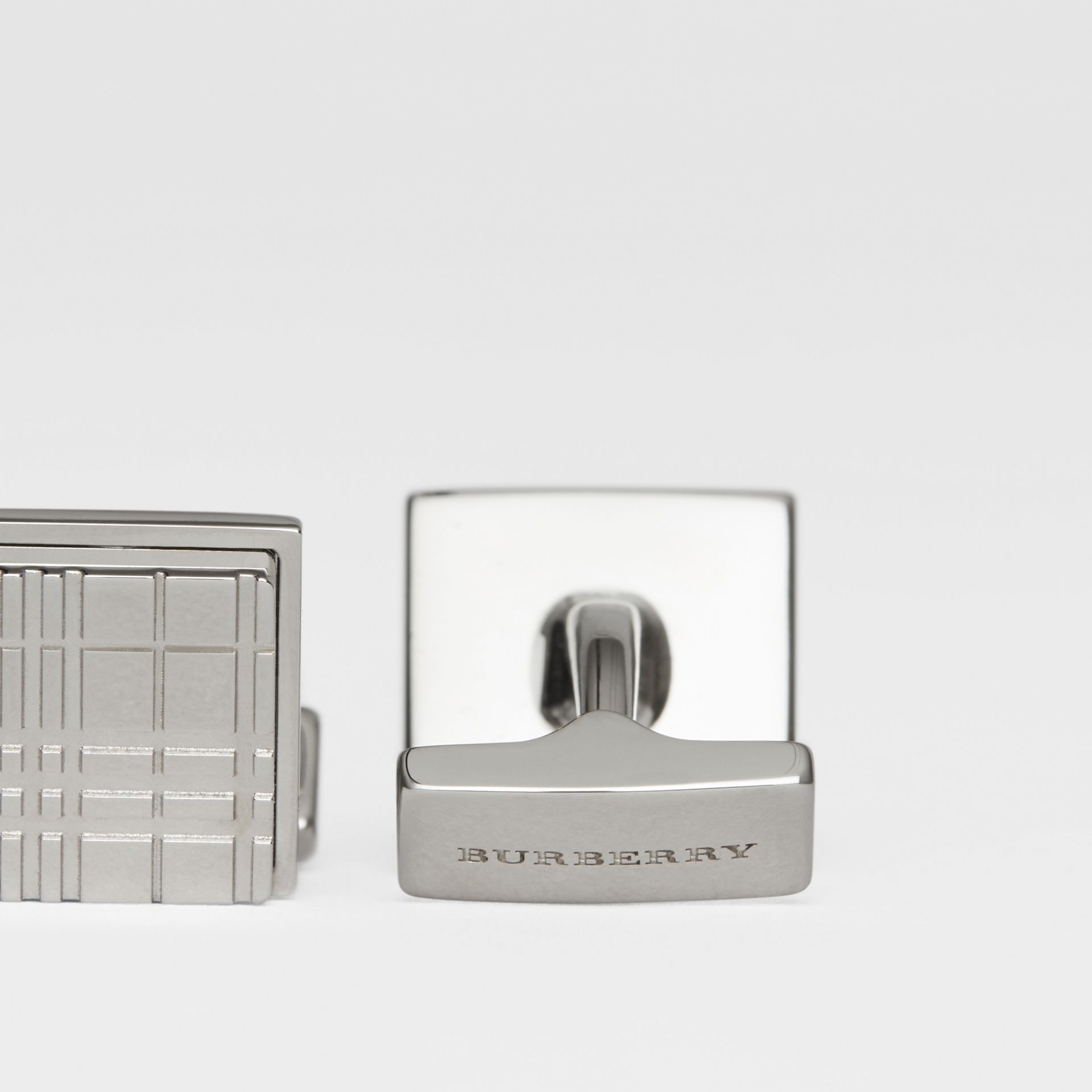 Check-engraved Square Cufflinks in Silver - Men | Burberry United States - gallery image 1