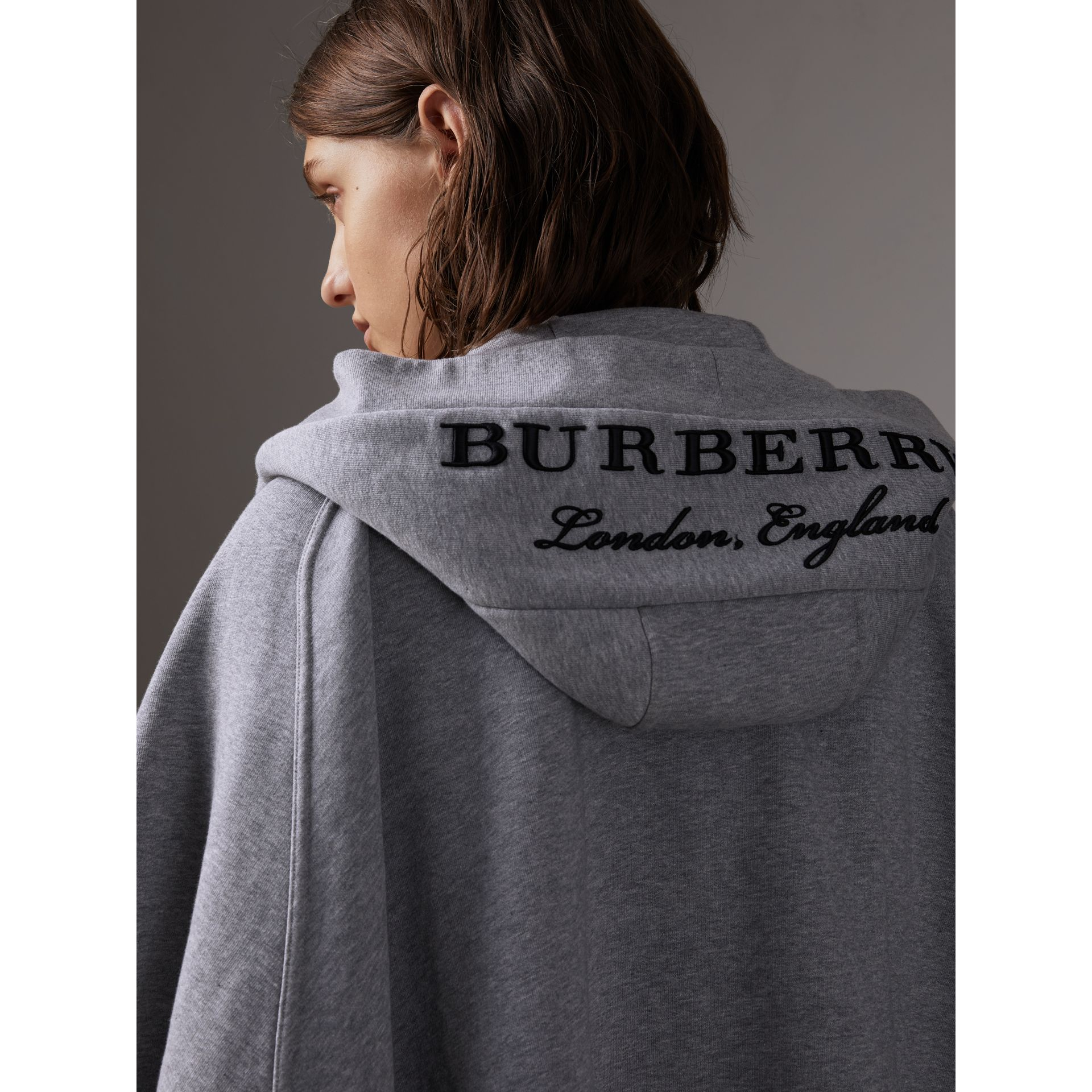 Embroidered Jersey Hooded Cape in Pale Grey Melange | Burberry - gallery image 2