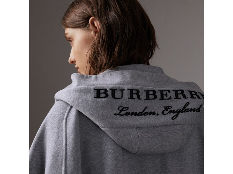 Embroidered Jersey Hooded Cape in Pale Grey Melange | Burberry - cell image 1
