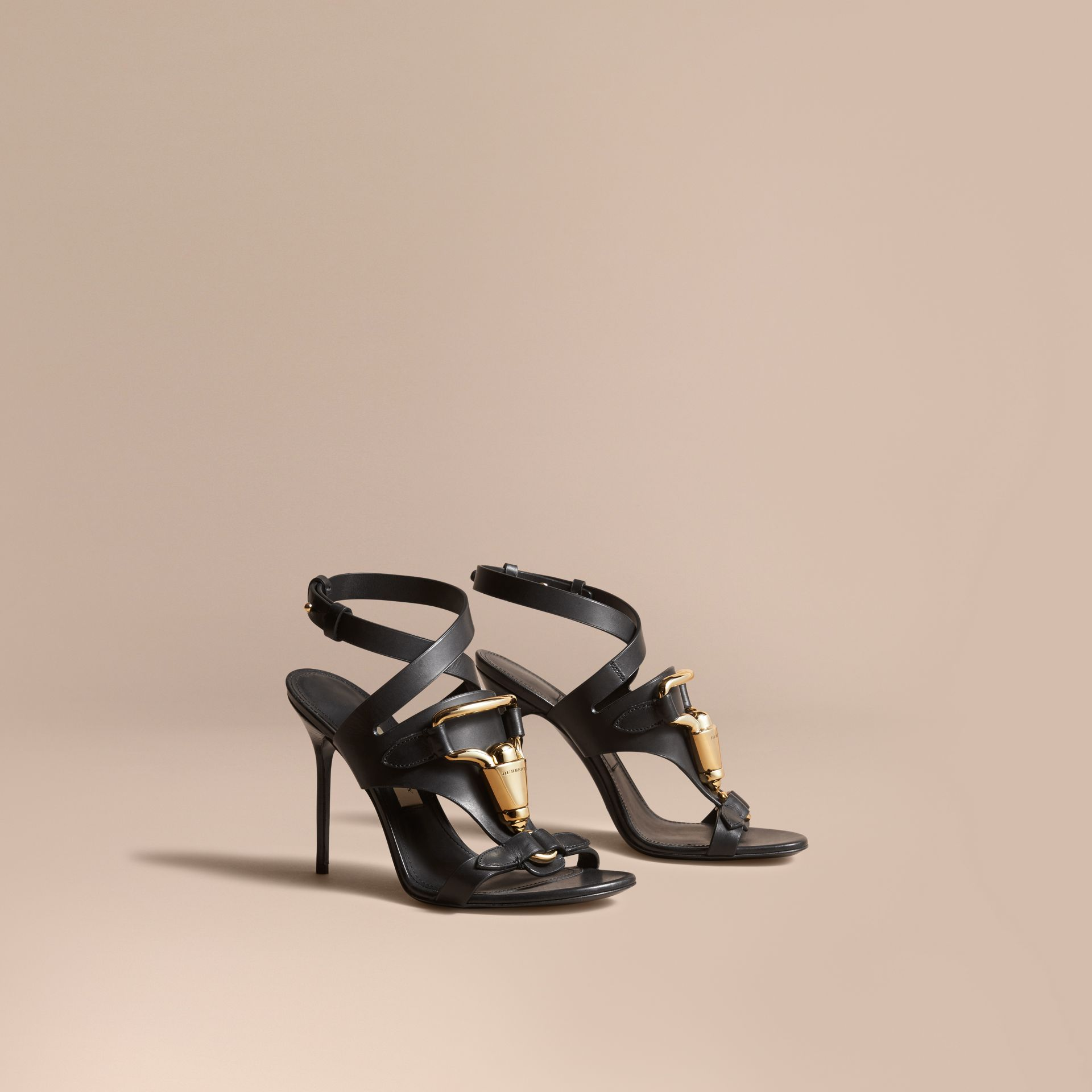 Equestrian Detail Leather High-heel Sandals in Black - Women | Burberry - gallery image 0