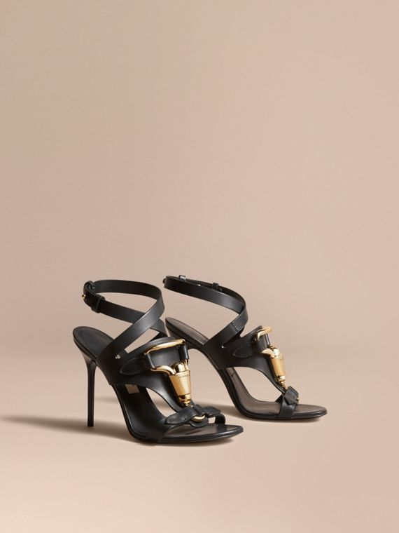 Equestrian Detail Leather High-heel Sandals in Black