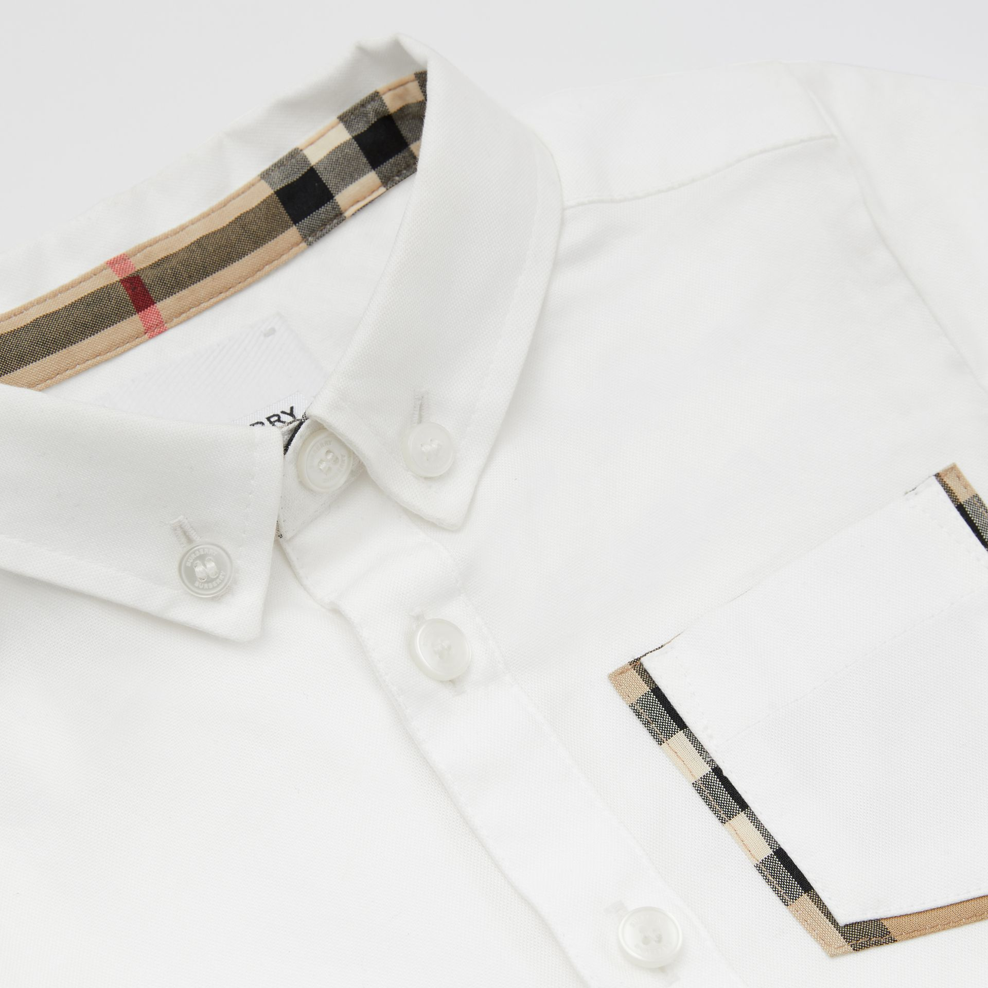 Short-sleeve Vintage Check Detail Cotton Oxford Shirt in White - Children | Burberry United Kingdom - gallery image 1