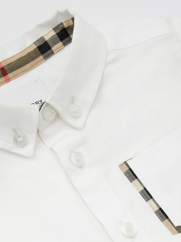 Short-sleeve Vintage Check Detail Cotton Oxford Shirt in White - Children | Burberry United Kingdom - cell image 1