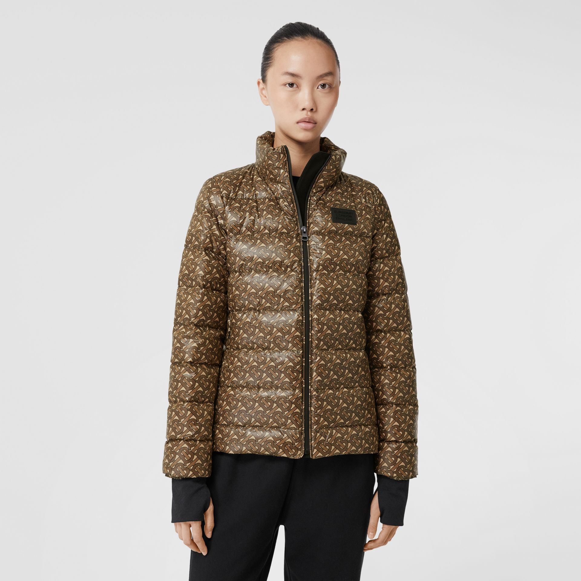 Monogram Print Nylon Puffer Jacket in Bridle Brown - Women | Burberry - gallery image 5