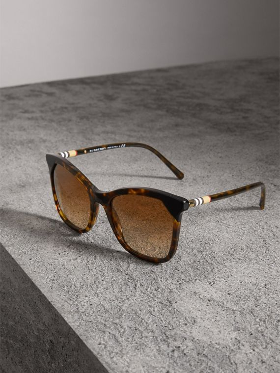 Tortoiseshell Square Frame Sunglasses in Brown - Women | Burberry Australia - cell image 3