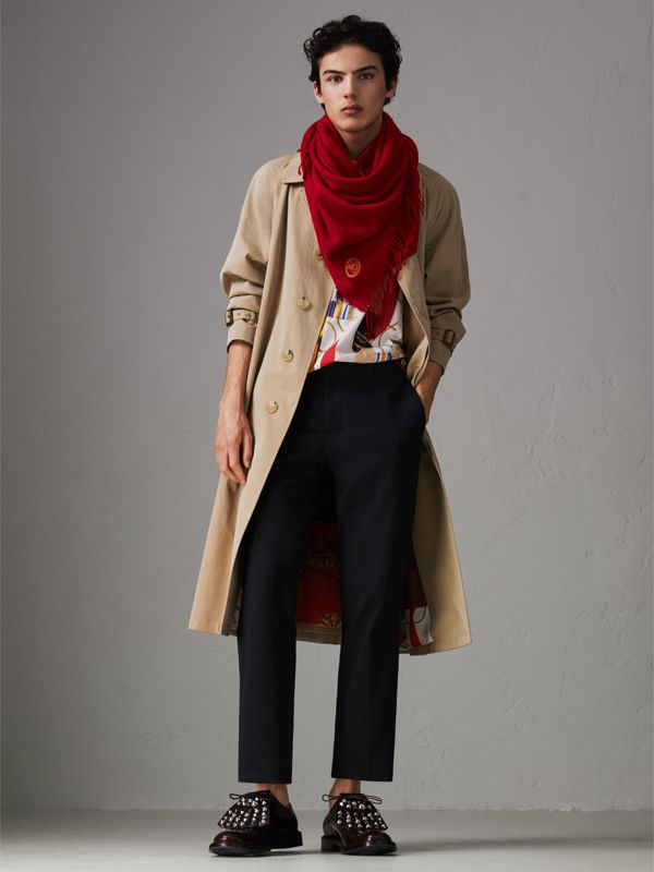 The Burberry Bandana in Embroidered Cashmere in Parade Red | Burberry United States - cell image 2