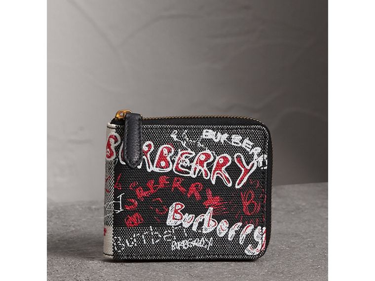 Doodle Print Coated Check Canvas Ziparound Wallet in Black - Men | Burberry - cell image 4