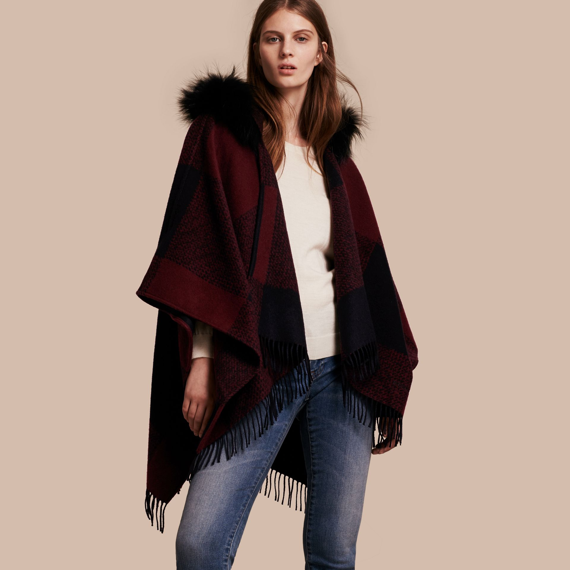 Claret Fur-trimmed Buffalo Check Wool Cashmere Poncho Claret - gallery image 1