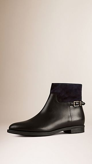 Suede Detail Leather Ankle Boot