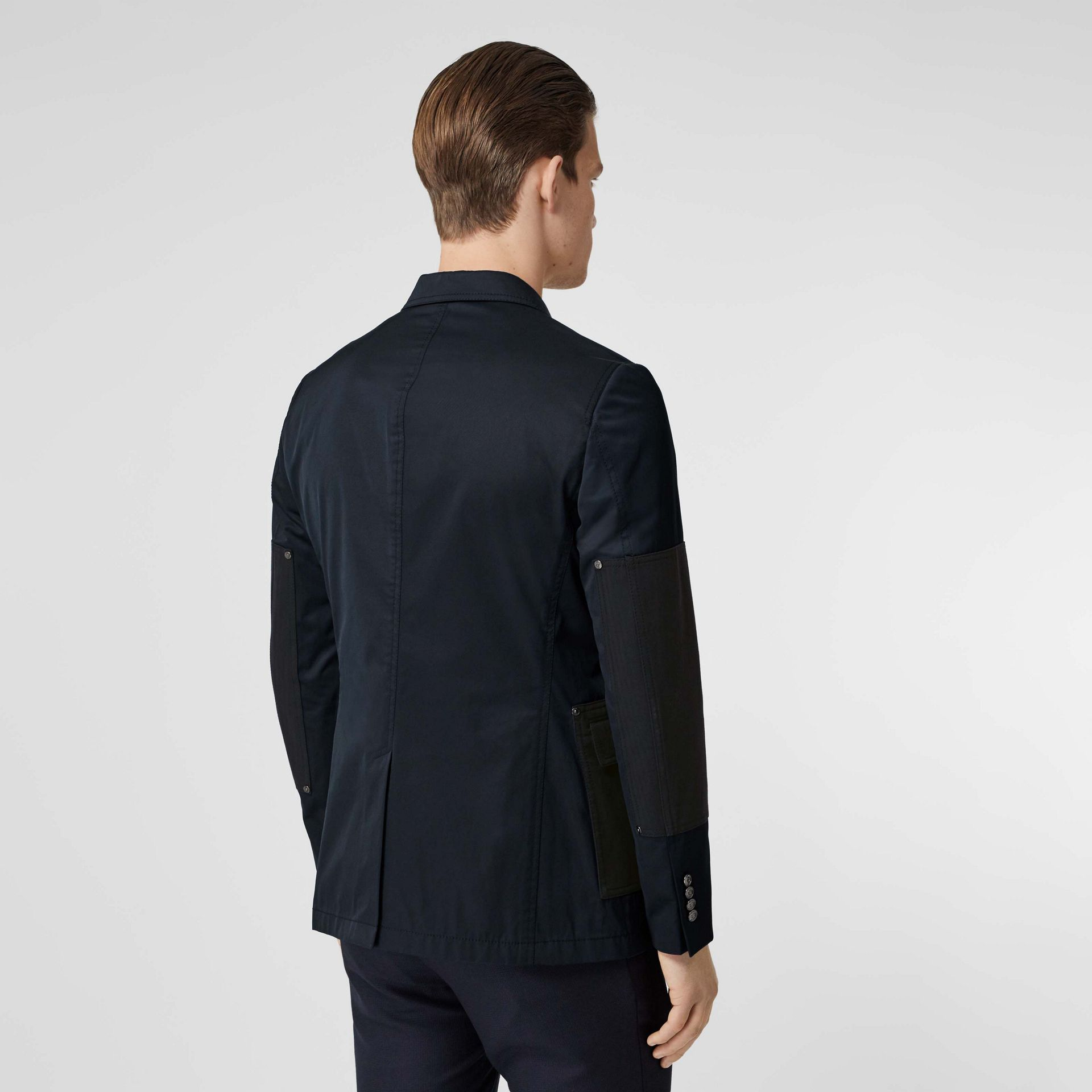 Herringbone Patch Detail Cotton Twill Blend Jacket in Navy - Men | Burberry - gallery image 2