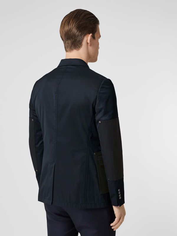 Herringbone Patch Detail Cotton Twill Blend Jacket in Navy - Men | Burberry - cell image 2