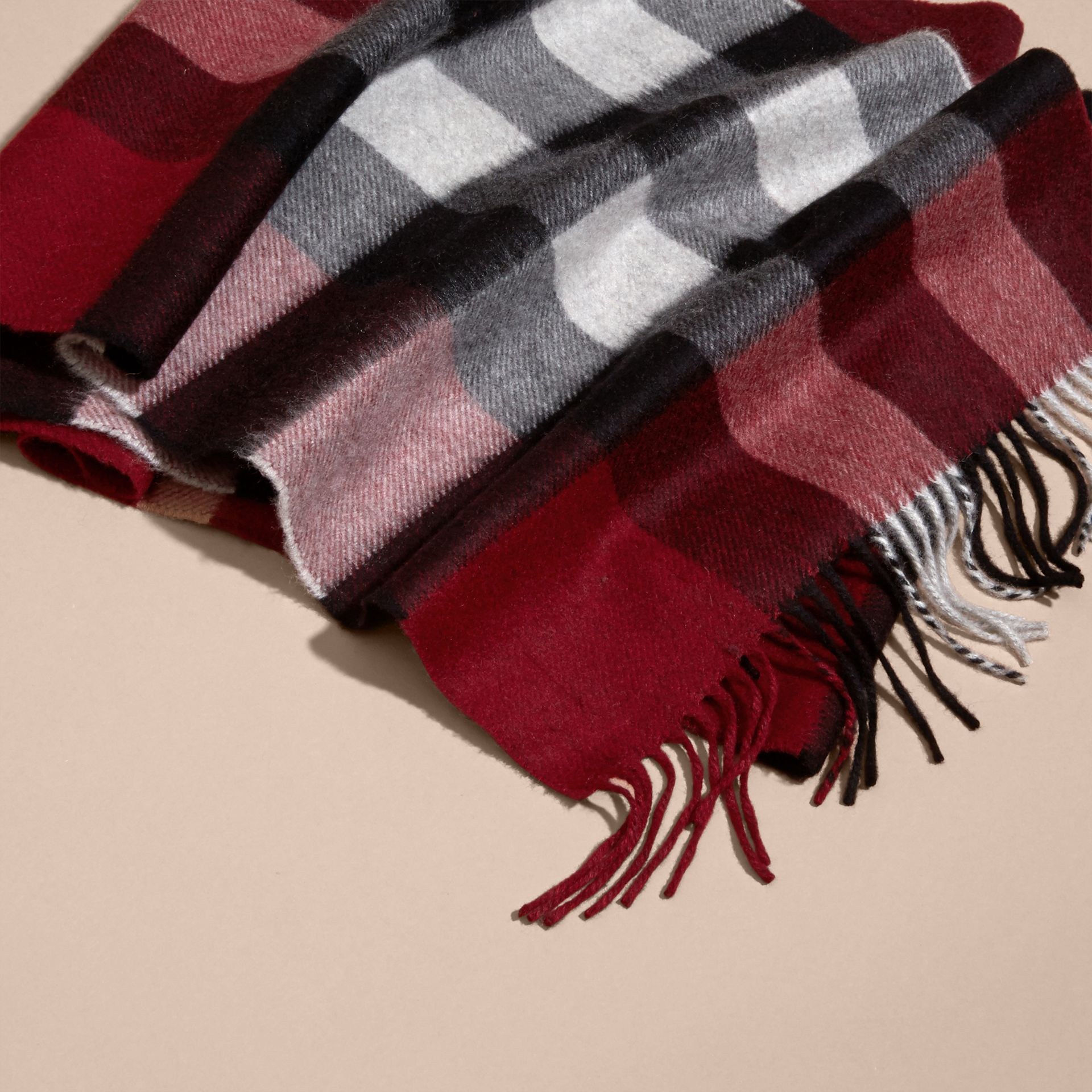 The Large Classic Cashmere Scarf in Check in Parade Red - gallery image 5