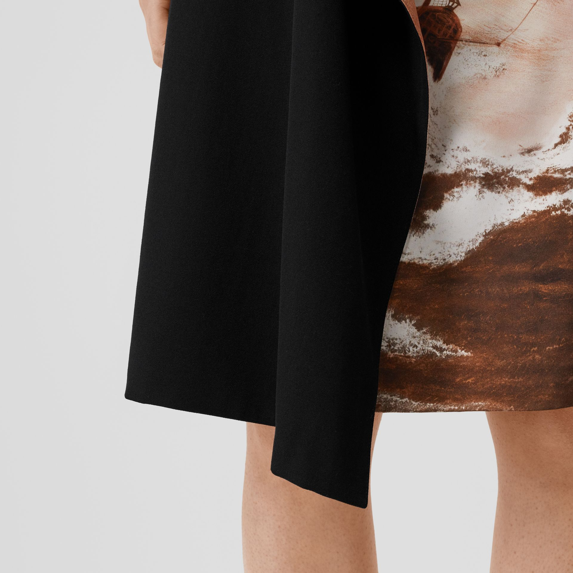 Ship Print Silk Panel Wool Pencil Skirt in Black - Women | Burberry - gallery image 1