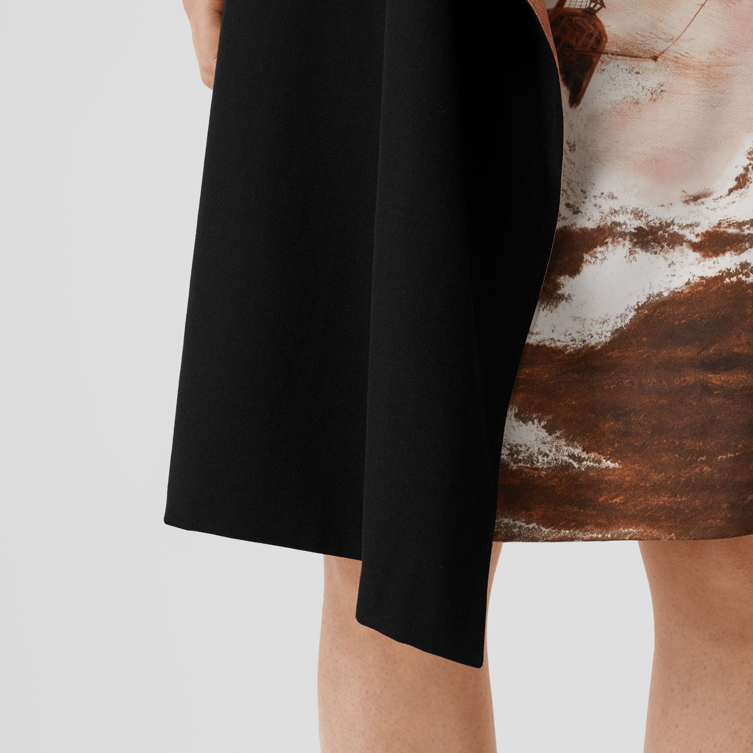 Ship Print Silk Panel Wool Pencil Skirt in Black - Women | Burberry United States - 2