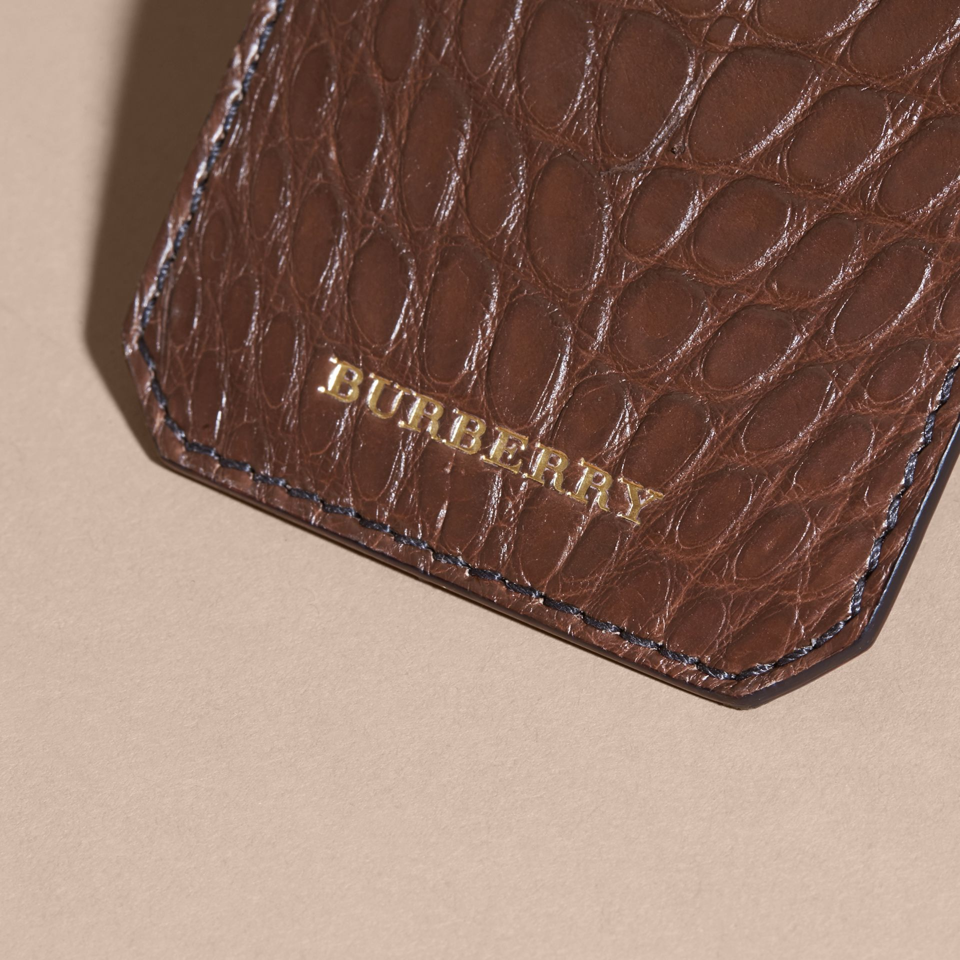 Alligator Luggage Tag in Flax Brown | Burberry - gallery image 2