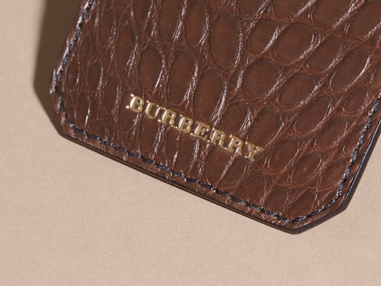 Alligator Luggage Tag in Flax Brown | Burberry - cell image 1