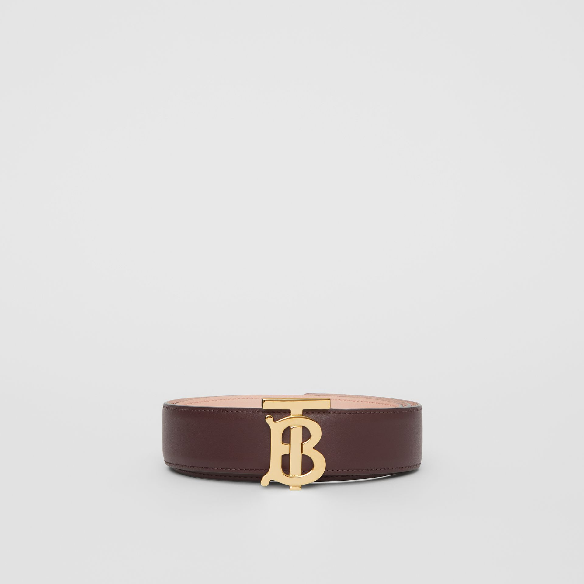 Reversible Monogram Motif Leather Belt in Oxblood/rose Beige - Women | Burberry United Kingdom - gallery image 3
