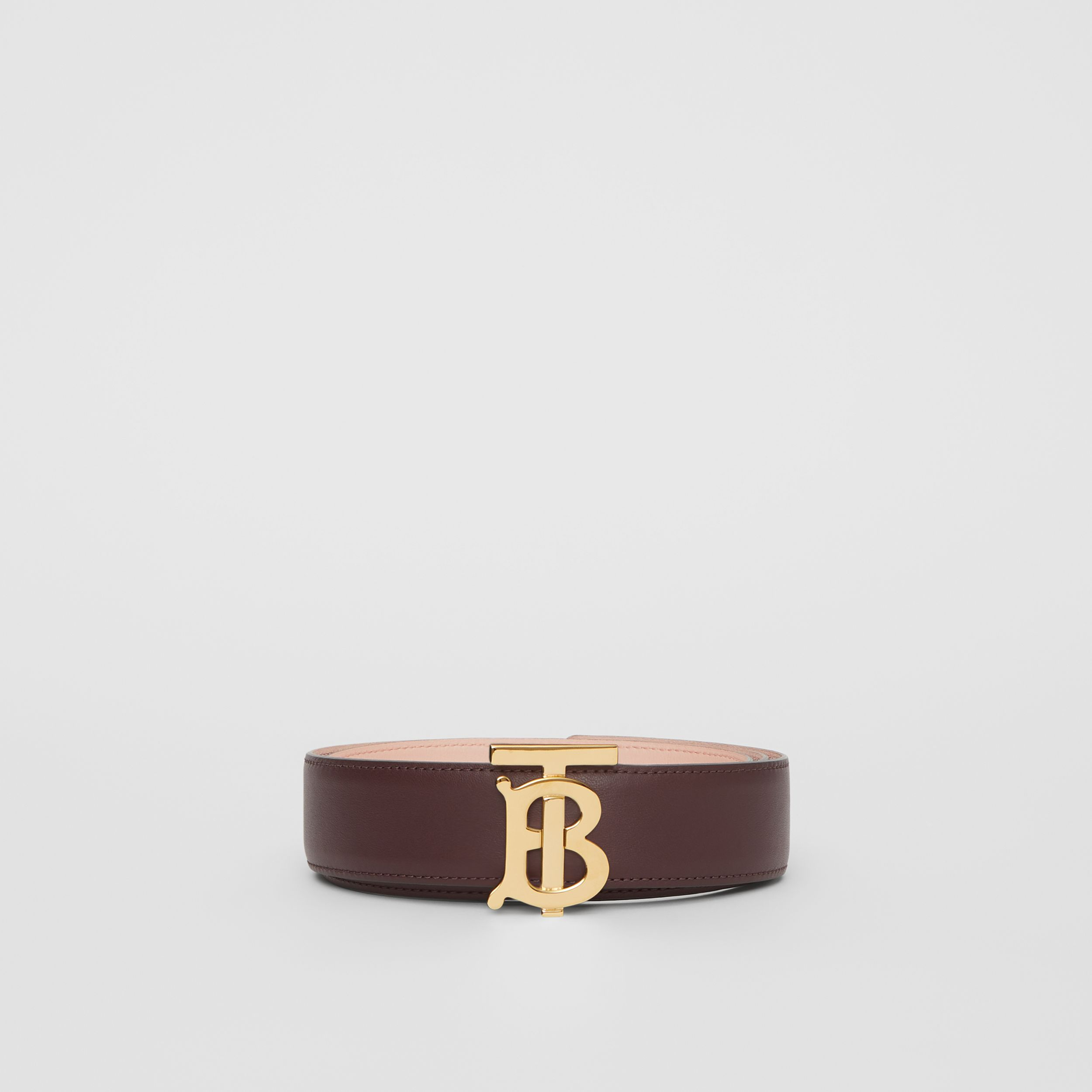 Reversible Monogram Motif Leather Belt in Oxblood/rose Beige - Women | Burberry - 4