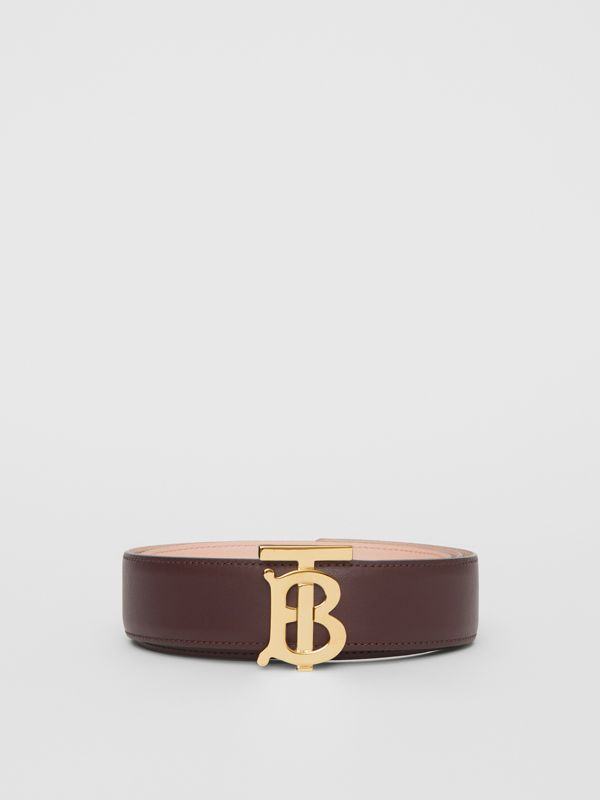 Reversible Monogram Motif Leather Belt in Oxblood/rose Beige - Women | Burberry United Kingdom - cell image 3