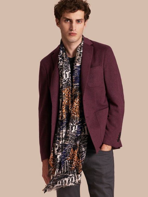 Modern Fit Lightweight Cashmere Tailored Jacket Deep Claret