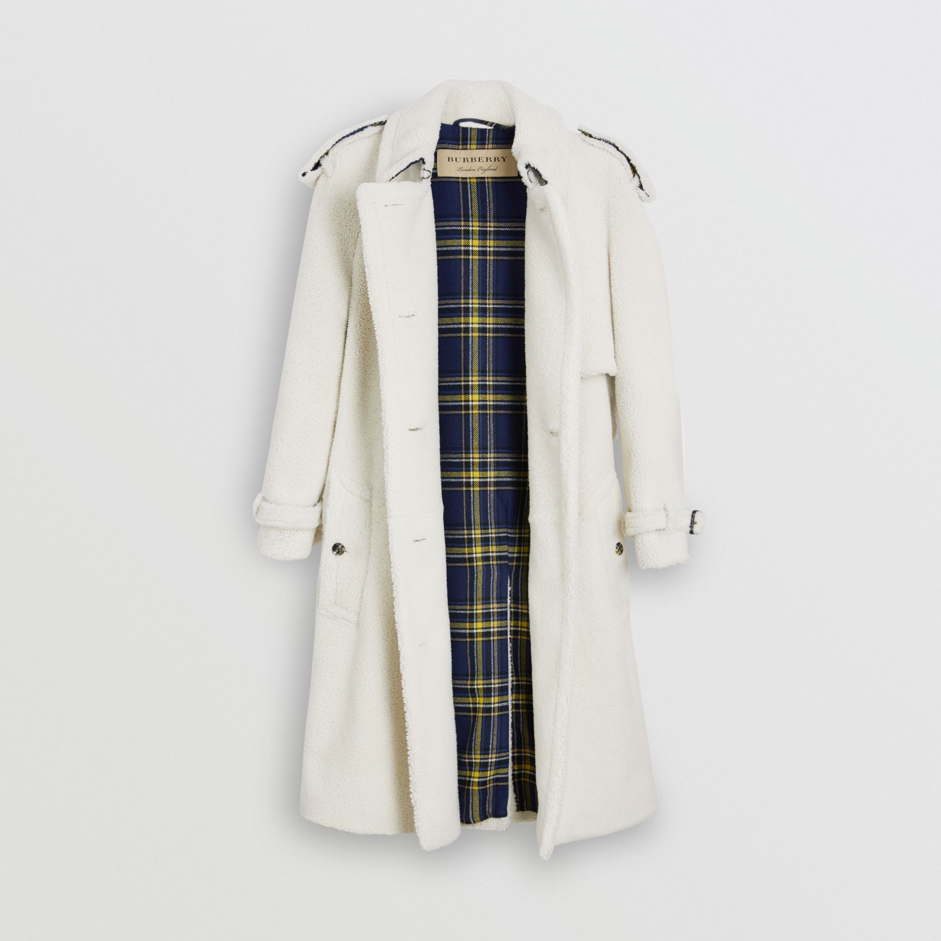 Tartan-lined Shearling Trench Coat in Off White - Women | Burberry - gallery image 6