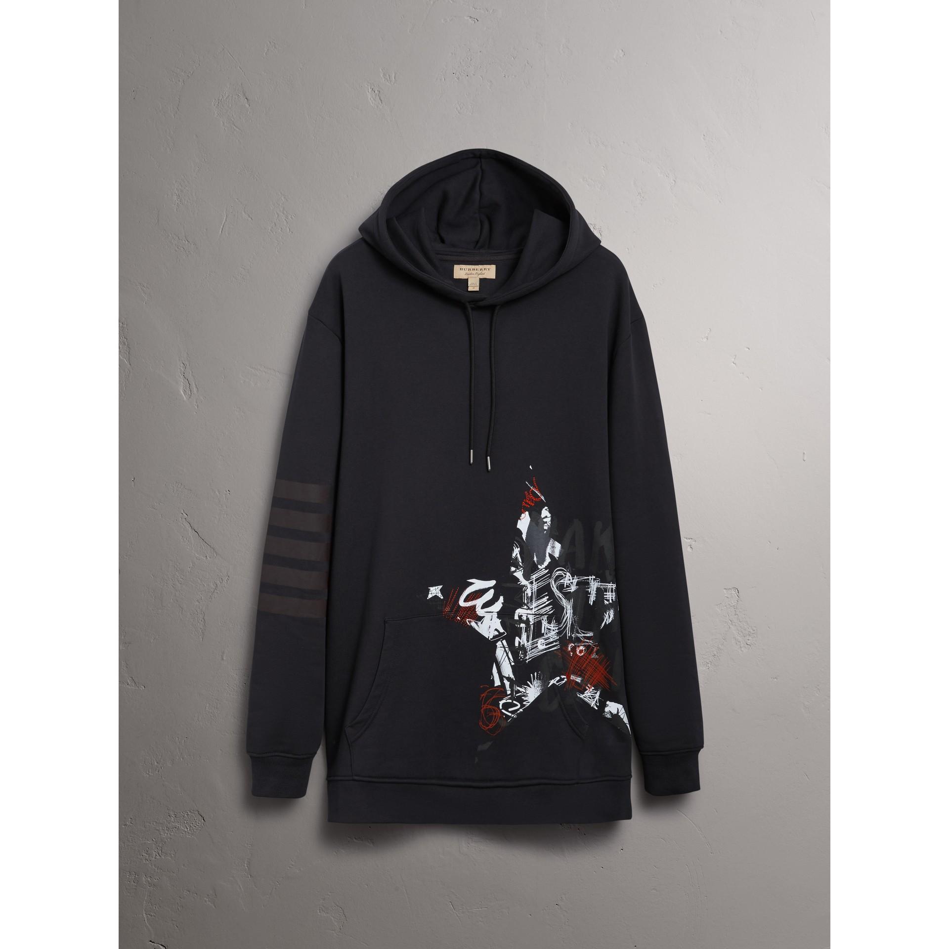 Burberry x Kris Wu Hooded Sweatshirt in Black - Men | Burberry United Kingdom - gallery image 3