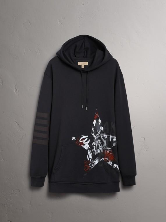 Burberry x Kris Wu Hooded Sweatshirt in Black - Men | Burberry United Kingdom - cell image 3