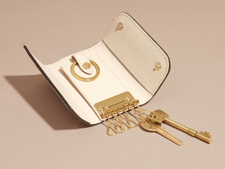 Grainy Leather Key Holder in Limestone - Women | Burberry - cell image 4