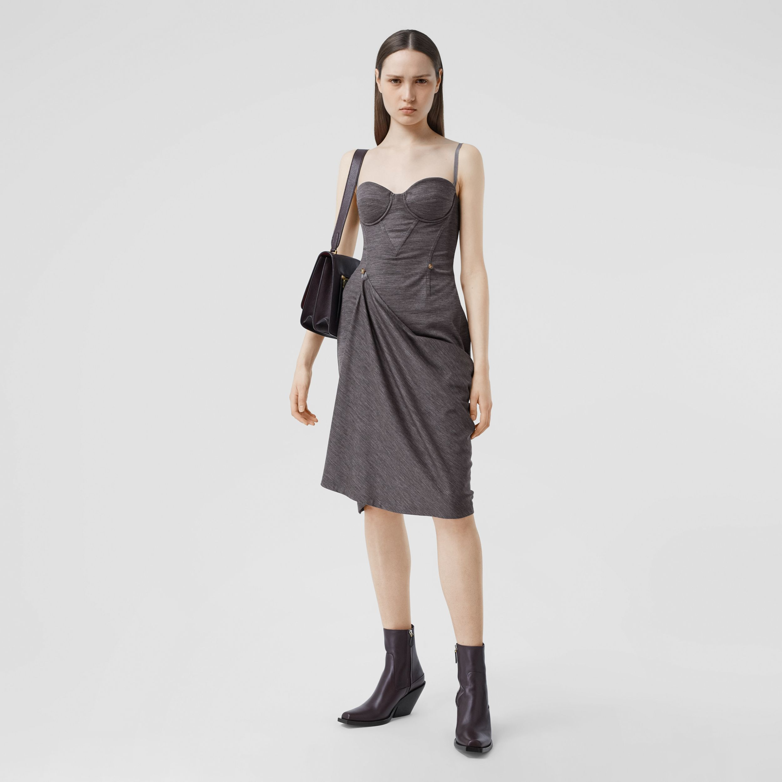 Asymmetric Technical Wool Corset Dress in Charcoal Grey - Women | Burberry Australia - 1
