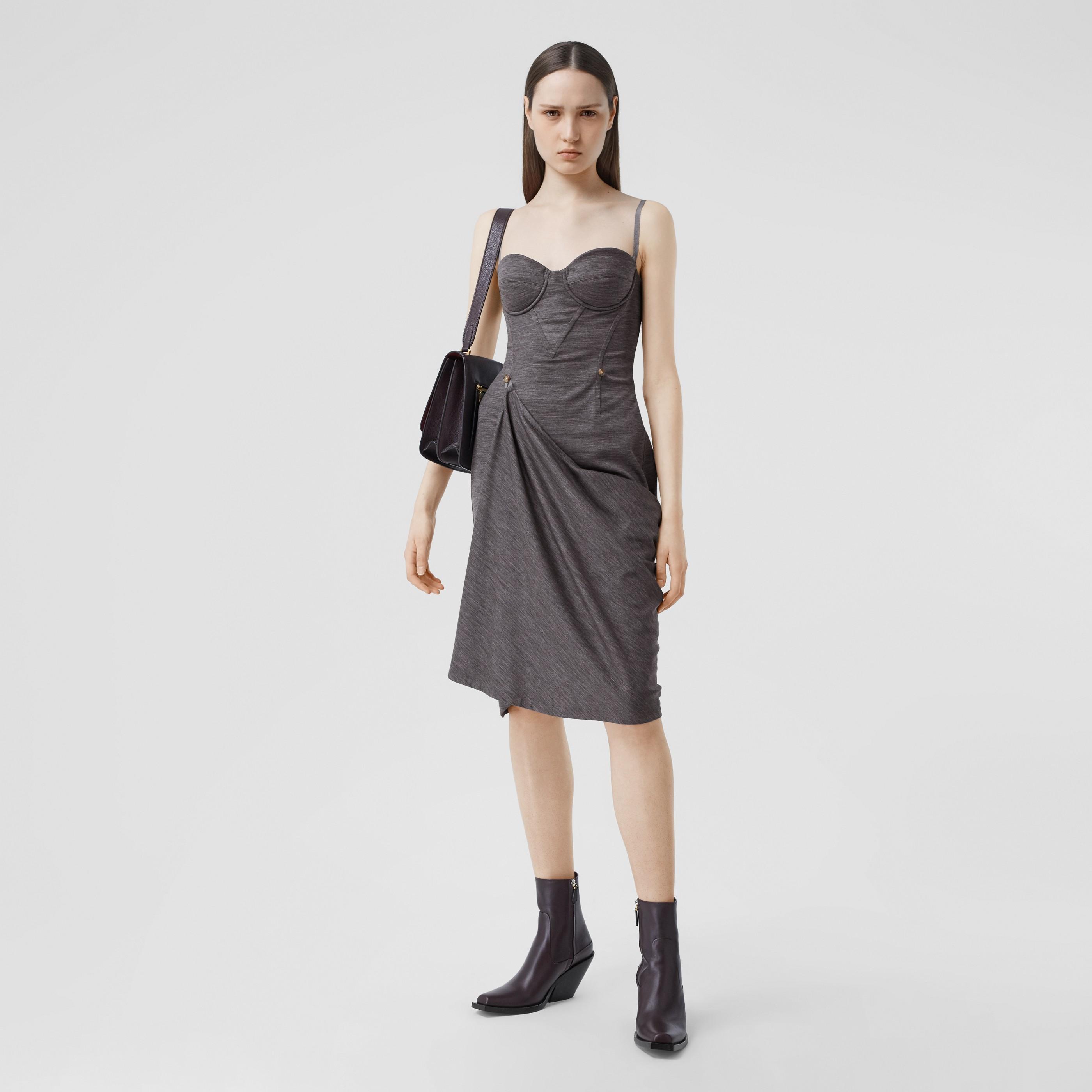 Abito asimmetrico stile corsetto in lana tecnica (Grigio Antracite) - Donna | Burberry - 1