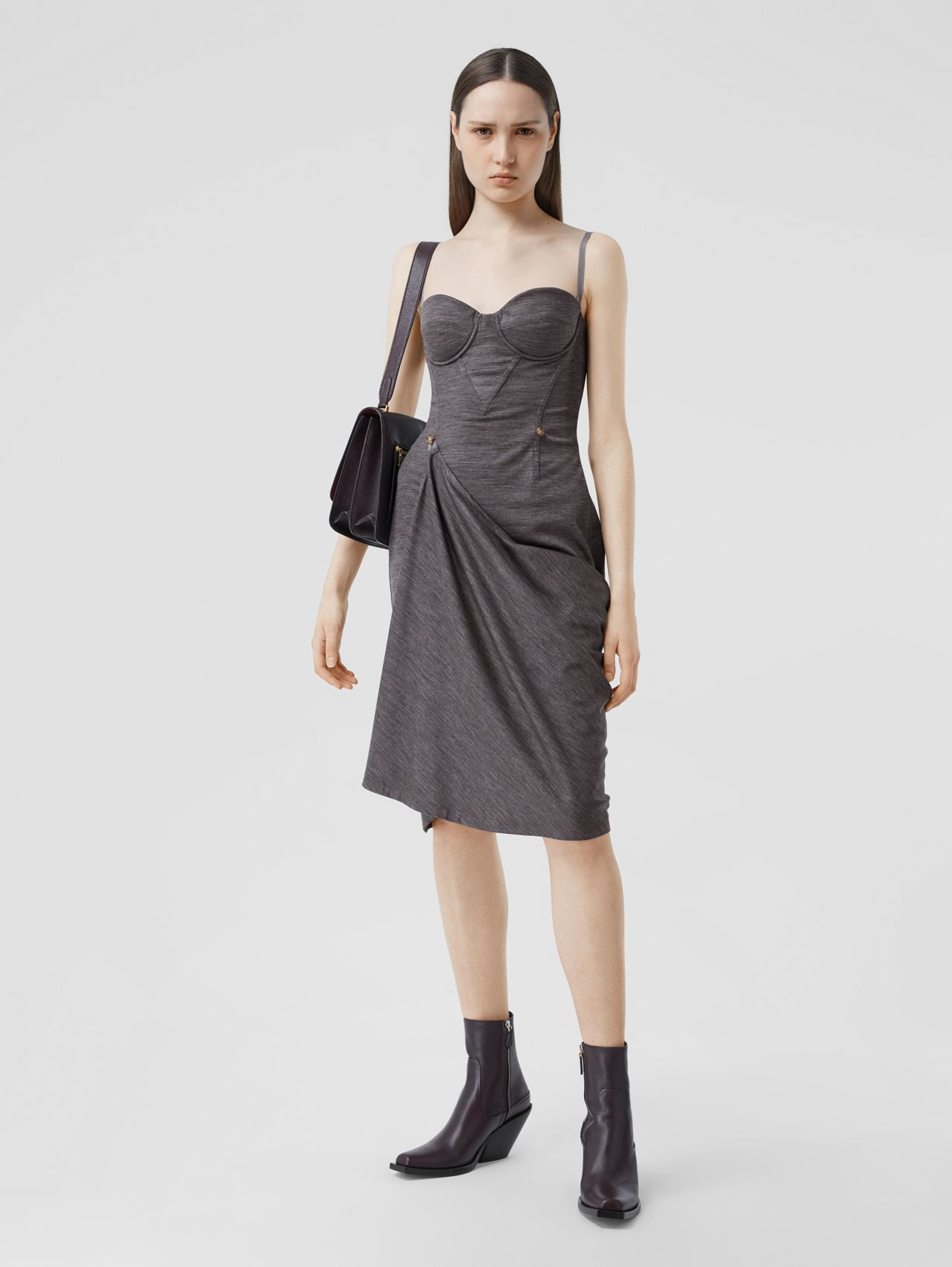 Asymmetric Technical Wool Corset Dress in Charcoal Grey