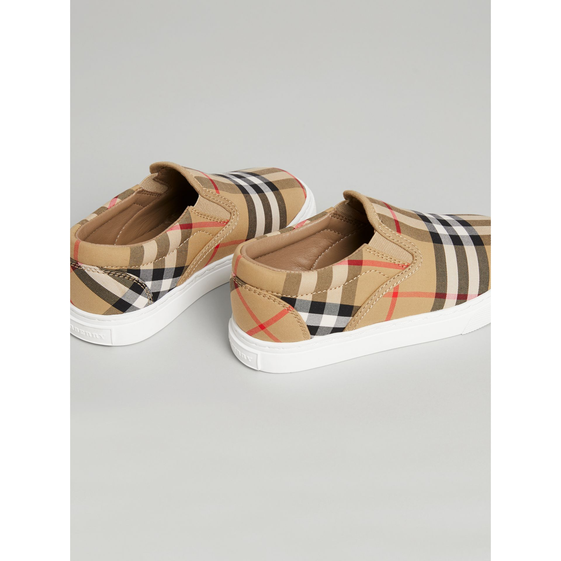 Vintage Check and Leather Slip-on Sneakers in Antique Yellow/optic White | Burberry United States - gallery image 2