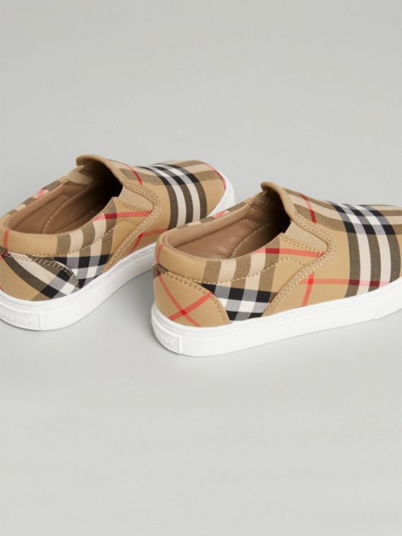 Vintage Check and Leather Slip-on Sneakers in Antique Yellow/optic White | Burberry Australia - cell image 2