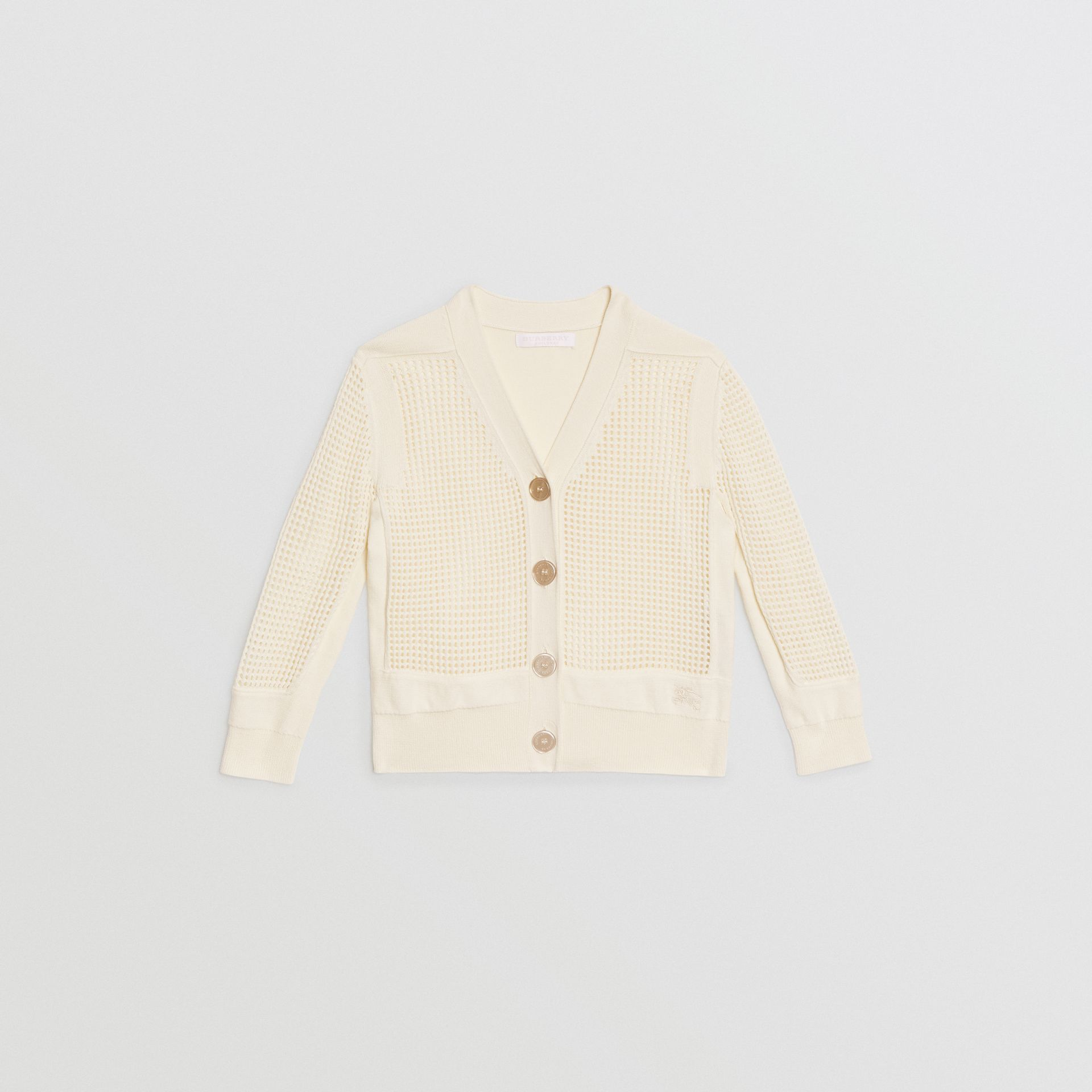 Open Knit Cotton V-neck Cardigan in Ivory | Burberry Canada - gallery image 0