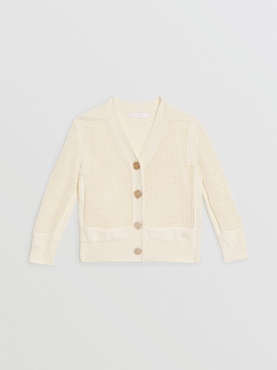 Open Knit Cotton V-neck Cardigan in Ivory