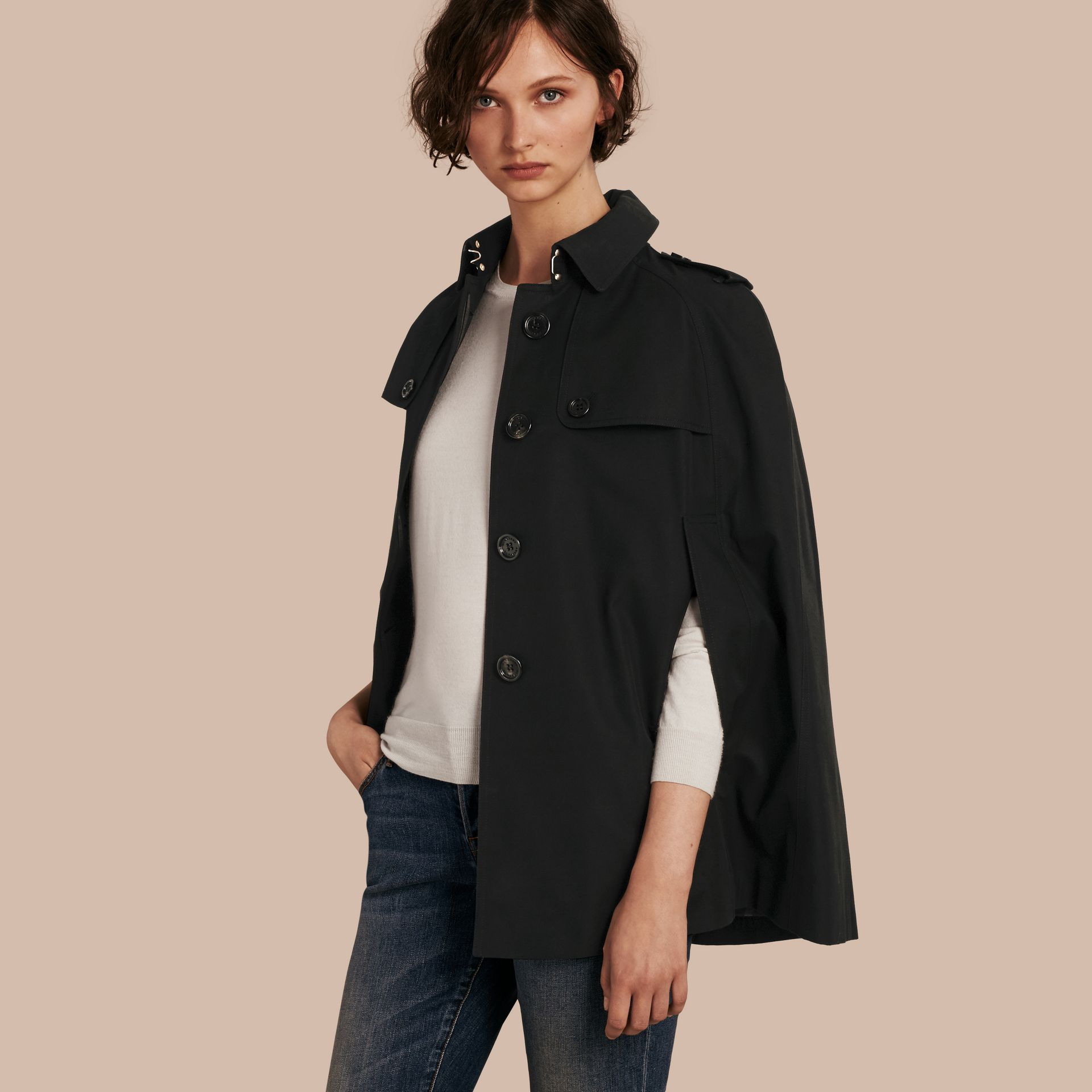 Black Cotton Gabardine Trench Cape - gallery image 1