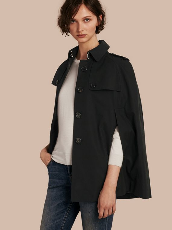 Cotton Gabardine Trench Cape Black
