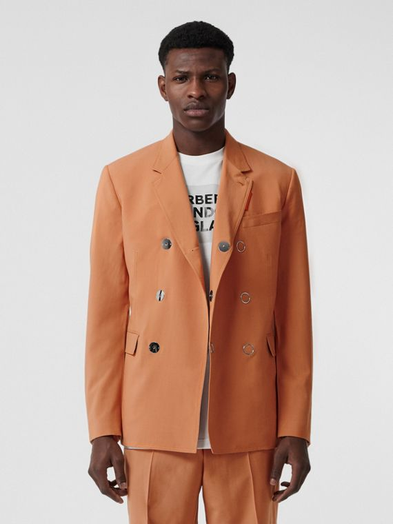 Slim Fit Press-stud Wool Tailored Jacket in Orange